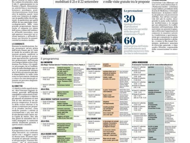 Atelier della salute presso la Facoltà di Medicina e Chirurgia dell' Università degli studi di Napoli Federico II - 2 Policlinico di Napoli