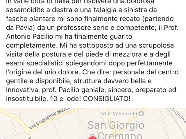 recensione podologo e posturologo napoli Prof. Antonio Pacilio